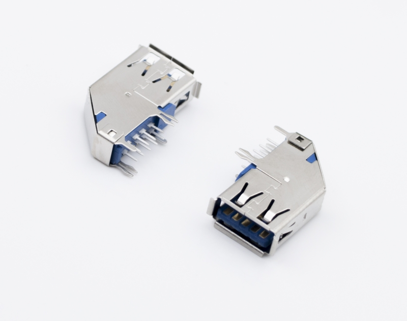 USB 3.0 BF DIP 90度 H12.6蓝胶