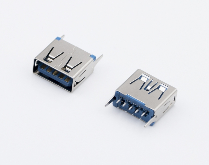 USB3.0 AF 短体 立式SMT 蓝胶