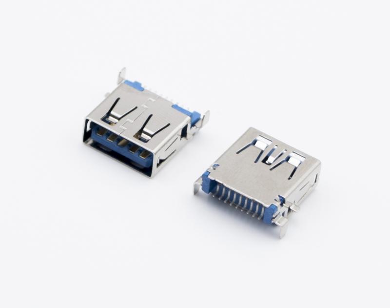 USB3.0 AF 短体 卧式SMT 蓝胶